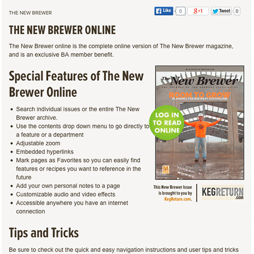 When readers access The New Brewer online preview on BrewersAssociation.org your logo will be prominently displayed with the image of The New Brewer cover.